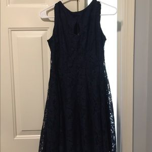 Navy Blue laced dress with front cut out /edited/